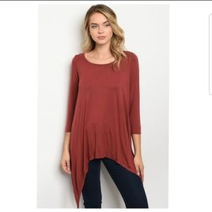 Tops - Rust Lace Up Back